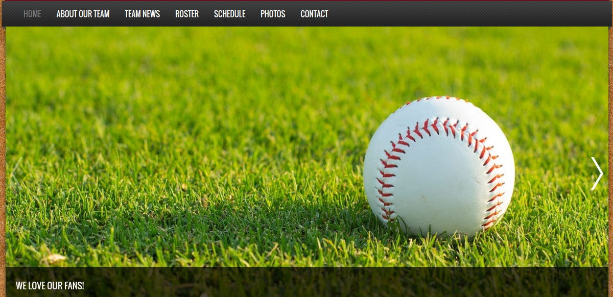 Baseball Team Website Template