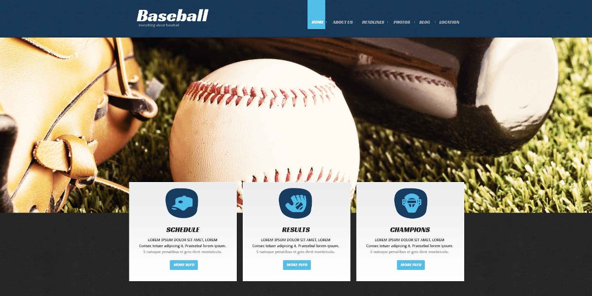 Baseball Responsive Website Template $75