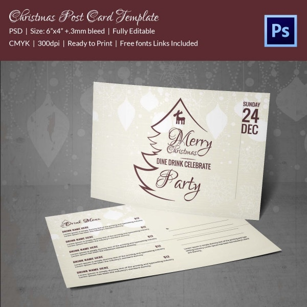 Elegant Christmas Postcard Template