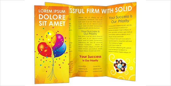 party celebrations tri fold brochure