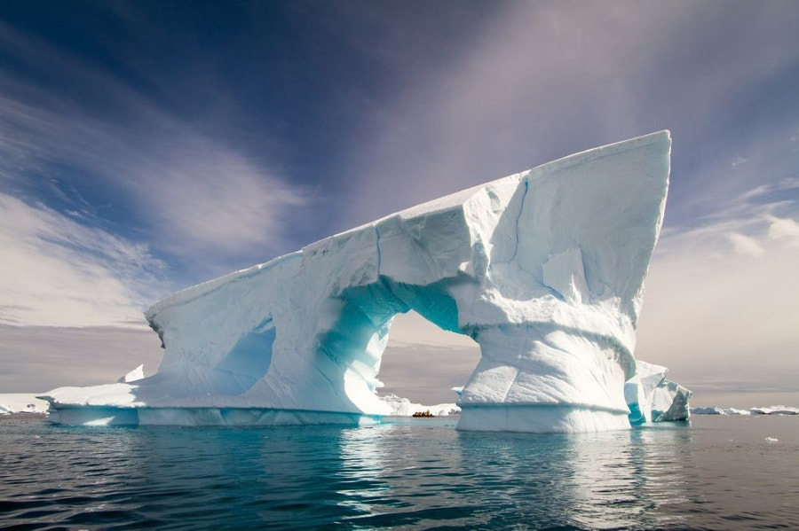 iceberg curved into foot shape