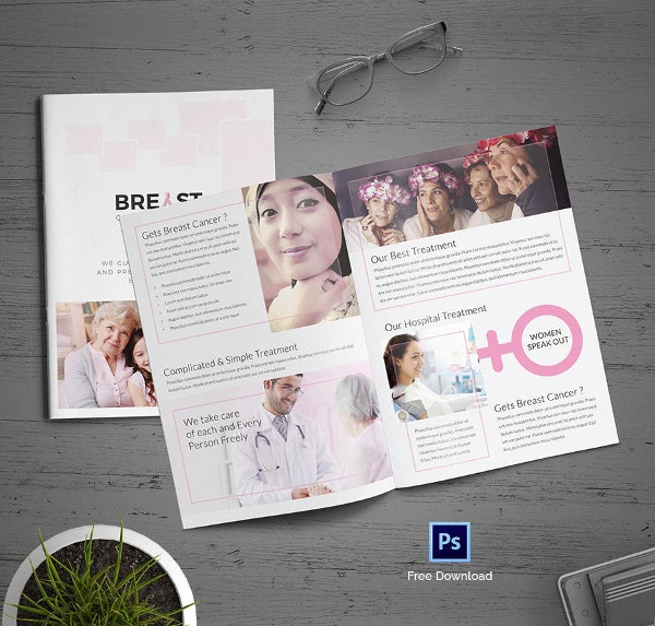 Breast Cancer Bi-folding Brochure Template