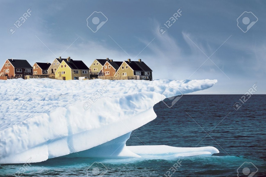 beautiful houses on iceberg