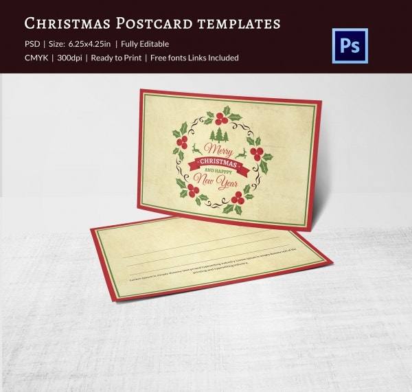 Lovely Christmas Postcard Template