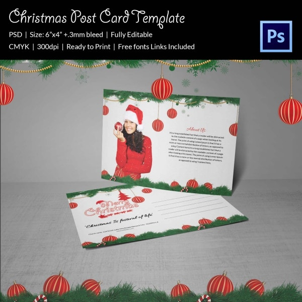 Merry Christmas Postcard Template Download