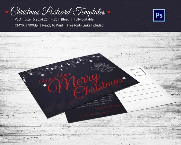 Merry Christmas Postcard Invitation