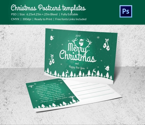Print Ready Christmas Postcard Template
