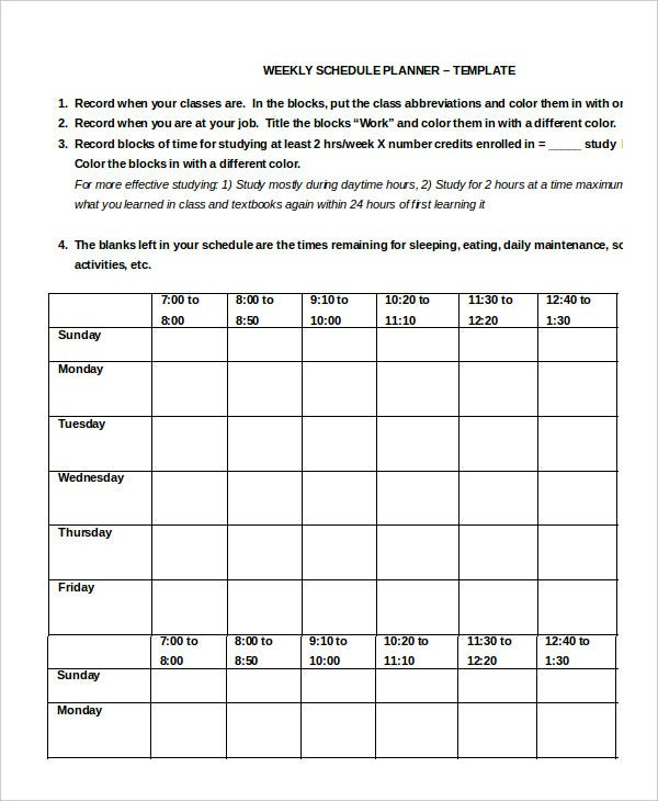 Work Schedule   Free Word Excel Pdf Documents Download