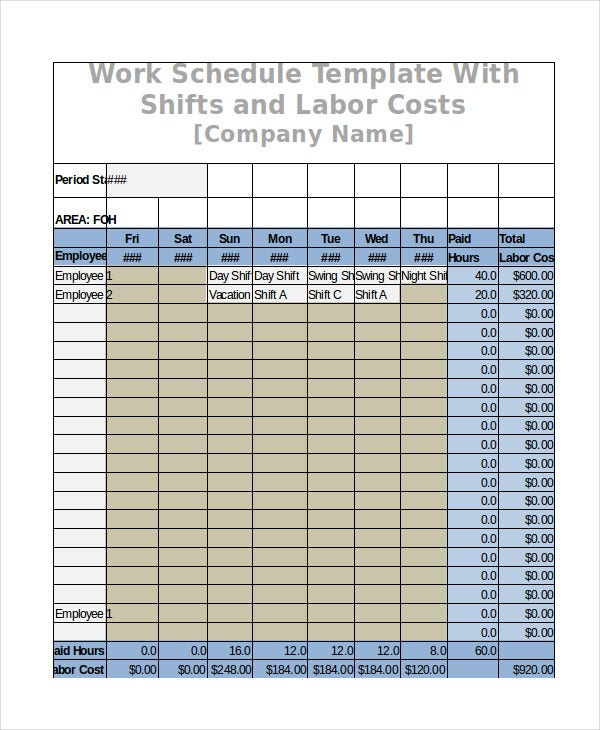 Work Schedule Free Word Excel PDF Documents Download Free - Labor schedule template