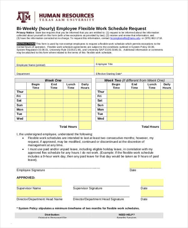 Work Schedule - 11+ Free Word, Excel, PDF Documents ...
