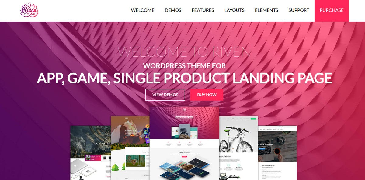 App One Page Landing Page WordPress Theme $49