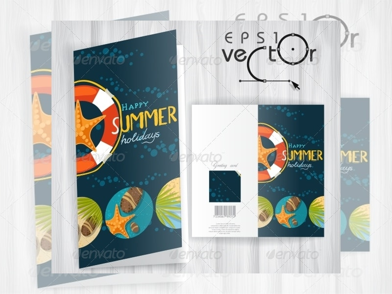 summer vacation greeting card template