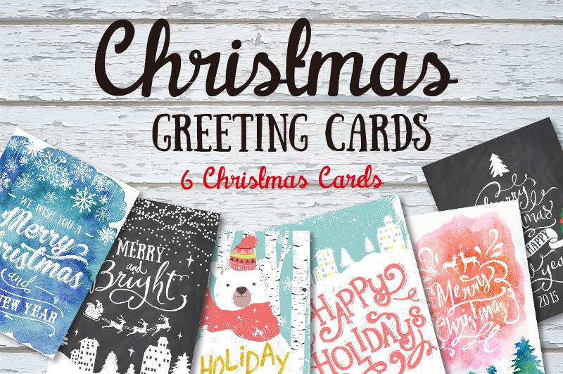 6 water color greeting cards set