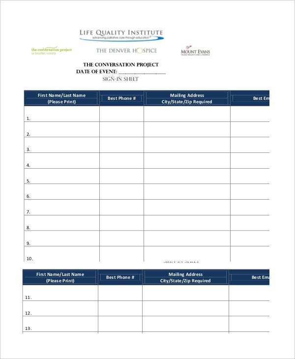 Event Sign In Sheet Template - 8+ Free Word, Pdf Documents