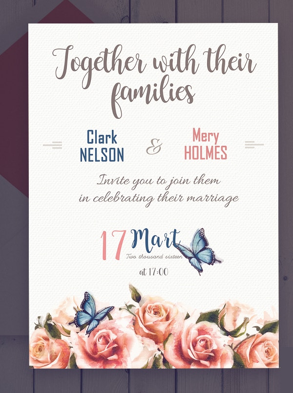 Rose Wedding Party Invitation Template Set