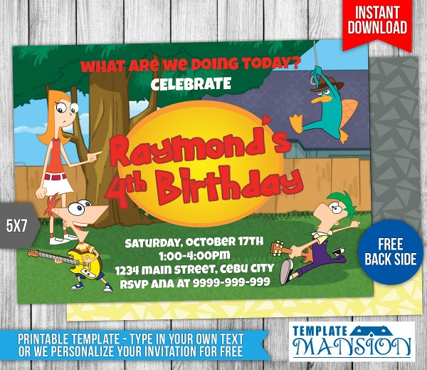 Cartoon Birthday Free Invite Template
