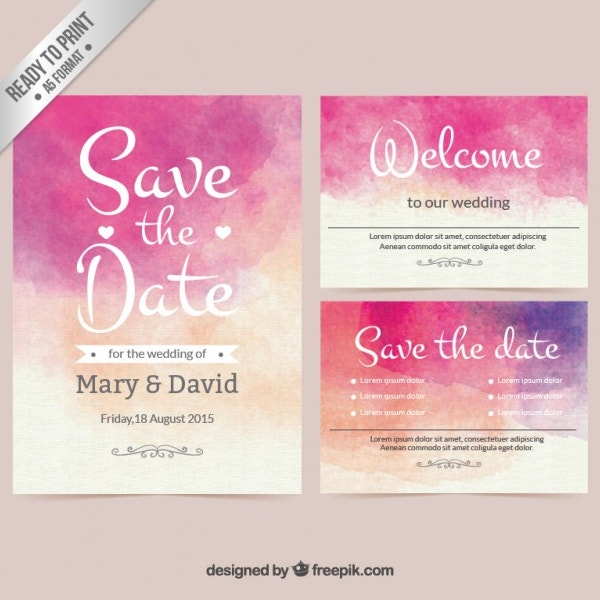Watercolor Wedding Free Invitation Template