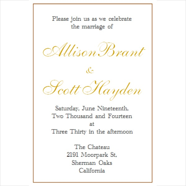 Elegant Wedding Free Invitation Template  Free Template Invitation