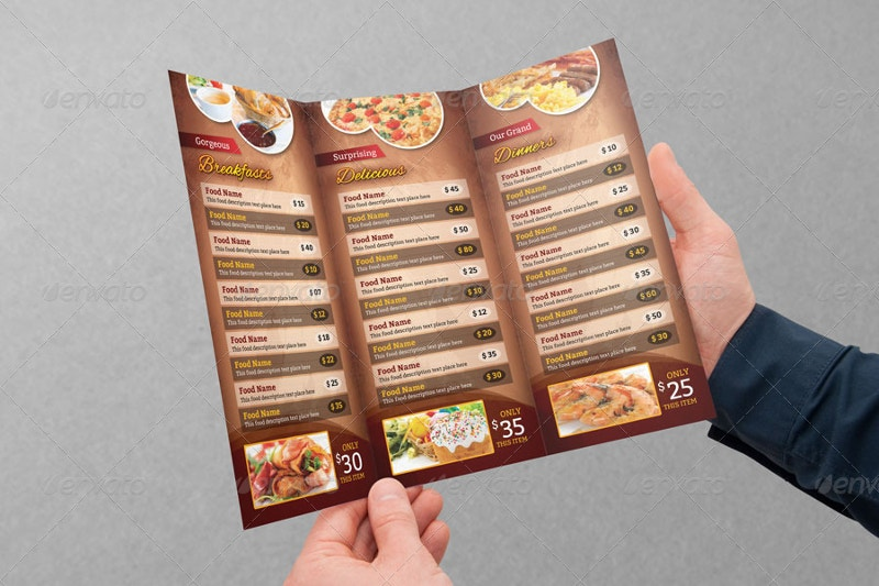 multipurpose tri fold food menu design