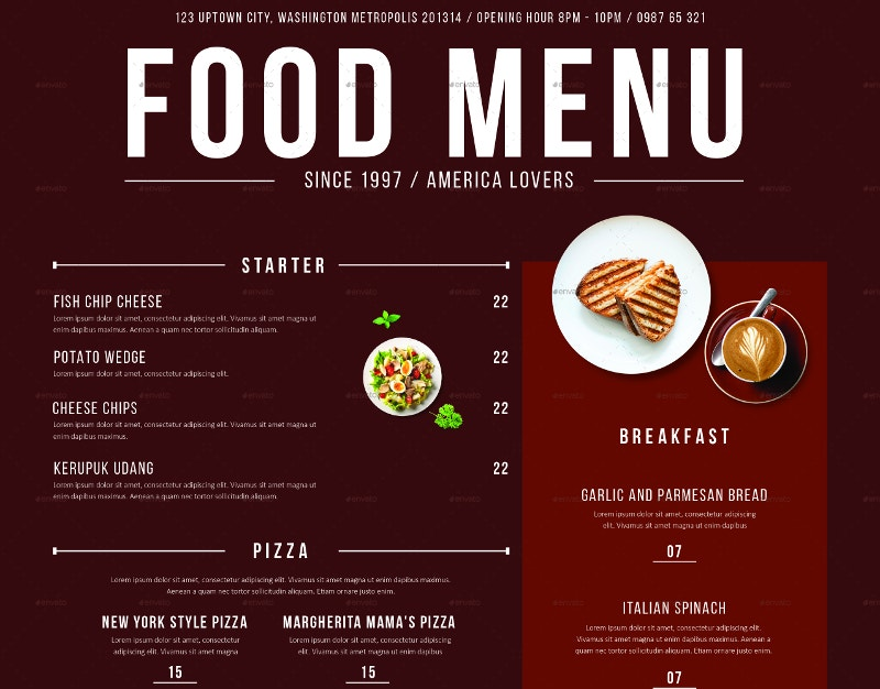 modern restaurent menu design