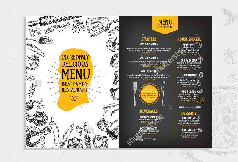 31 beautiful restaurant menu designs psd eps ai for Cafe menu design template free download