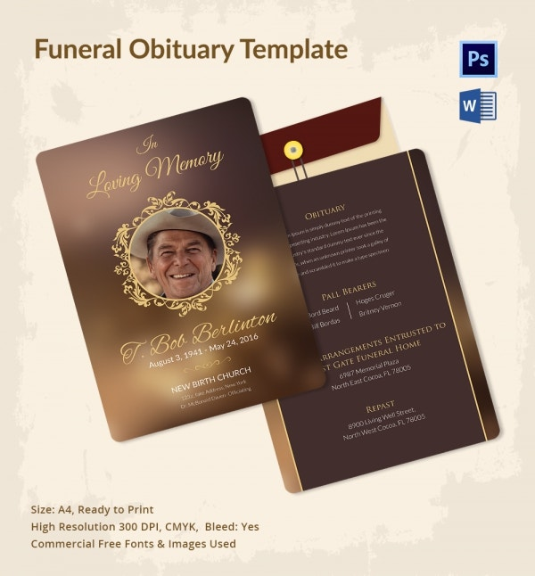 Customizable Funeral Obituary Template