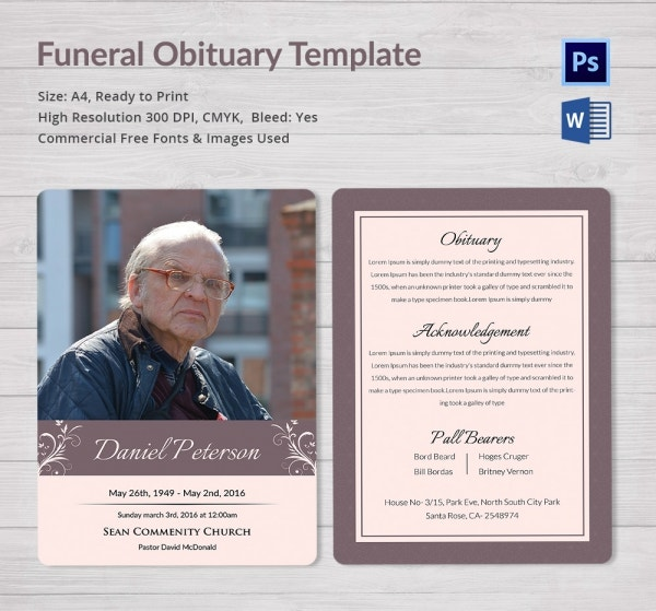 Obituary template 10 free word psd format download for Free online obituary template
