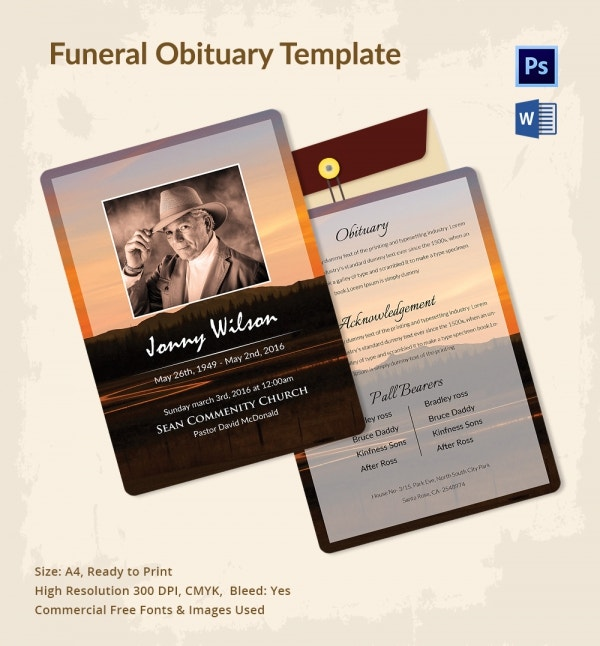 Special Funeral Obituary Template