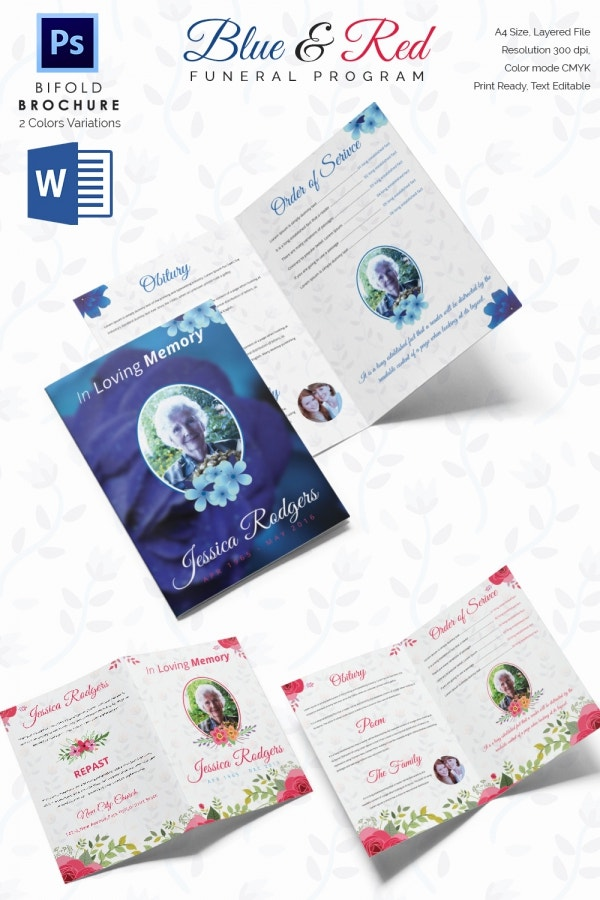 Blue and Red Funeral Program Bi Fold Brochure