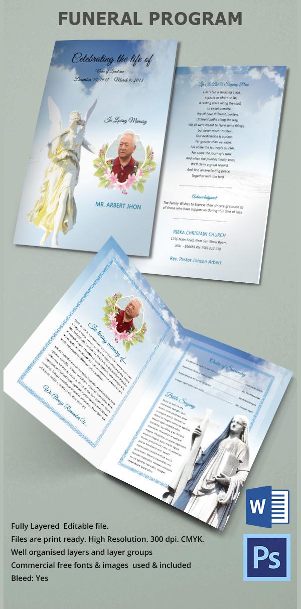 Funeral Program Bi Fold Brochure