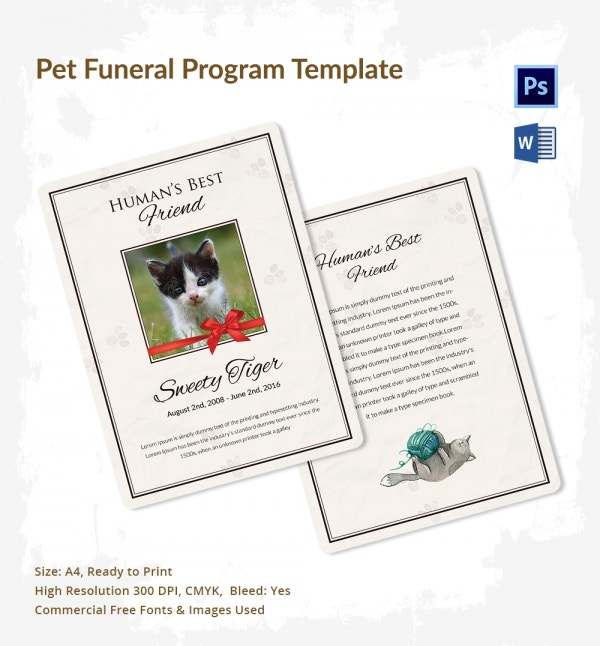 Pet Funeral Program Template