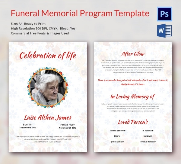 Funeral program template 16 word psd document download for Memorial pamphlets free templates