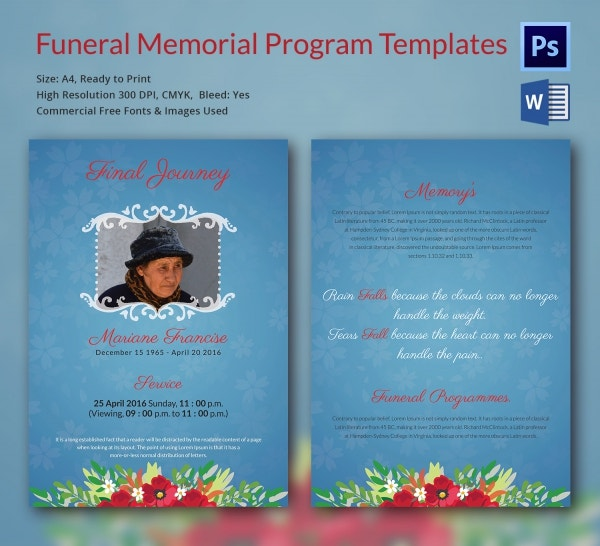 Editable Funeral Memorial Program Template