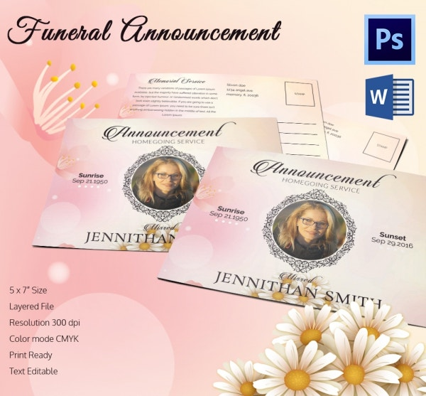 Funeral Death Announcement Template