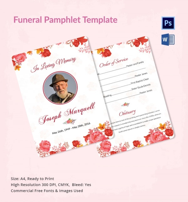 Funeral Service Pamphlet Template