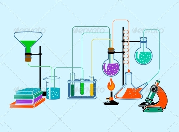 Scientific Laboratory Flat Background Poster