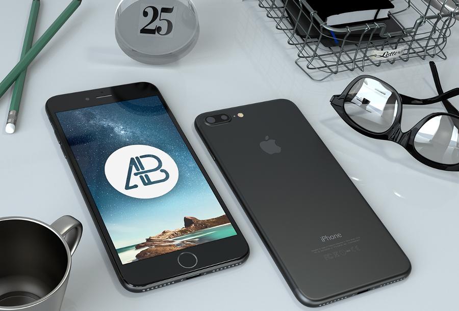 realistic black iphone 7 plus mockup