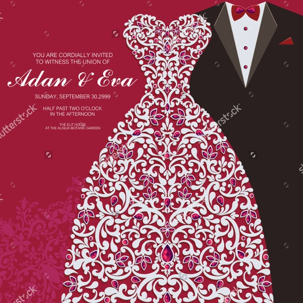 Wedding Invitation card with Abstract Background