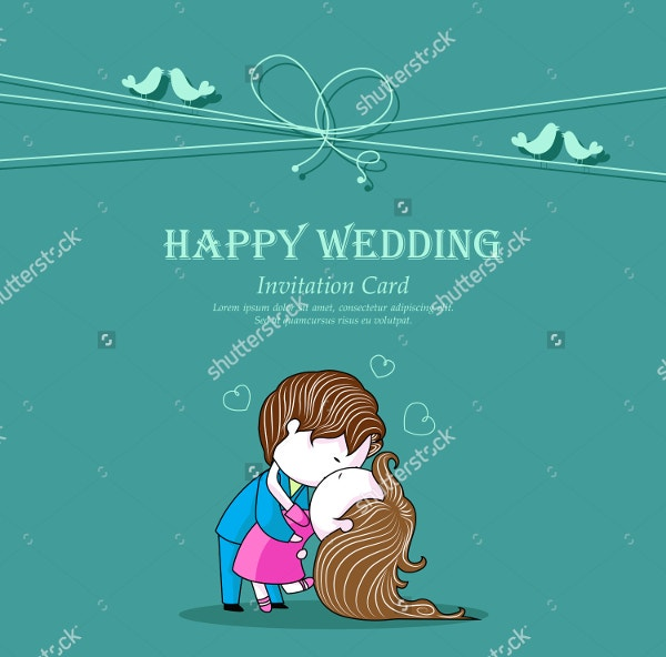 Kissing Couple on Wedding Invitation Template