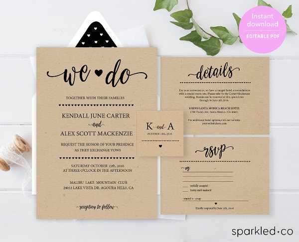 Wedding Invitation Template Free PSD Vector EPS PNG Format - Wedding invitation templates: wedding invitation suite templates