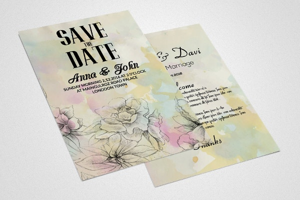 2 Sides Wedding Invitation Card Template