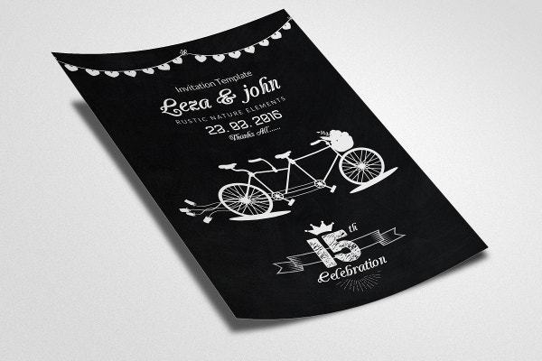 Chalk Board Wedding Invitation Flyer