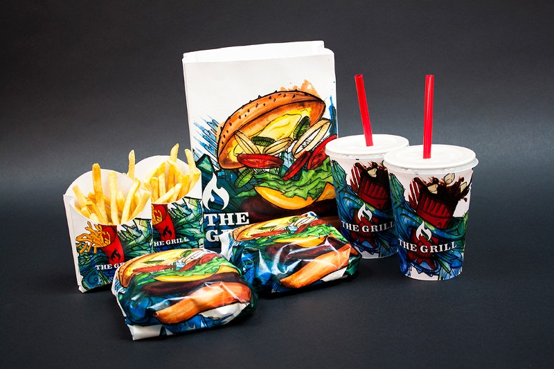 grill fast food packaging design