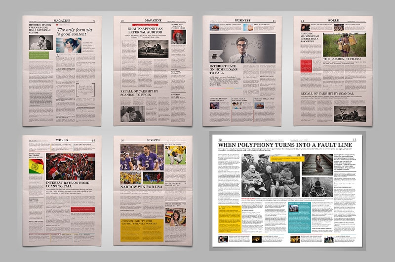 21 Modern Newspaper Layouts – Newspaper Layout Template