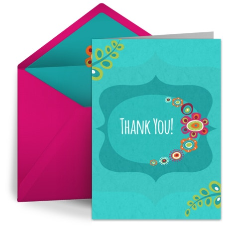 Retro Aqua Thank You Card