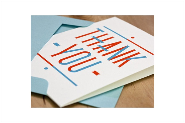 blue french thank you card