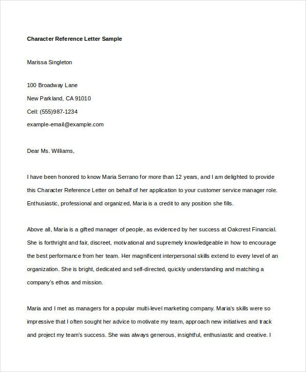 Character Reference Letter 5 Free Word PDF Documents Download – Format for Character Reference Letter