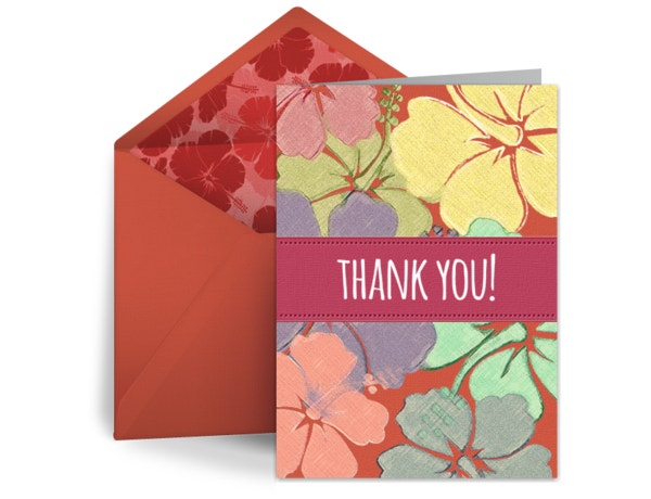 floral thank you card free download