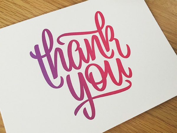 Handtype Lettering Thank You Card