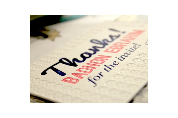 Invitation Thank You Card Design